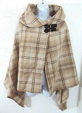 Ralph Lauren Leather Buckle Equestrian Plaid Wrap Lambs Wool Cape Poncho Sweater