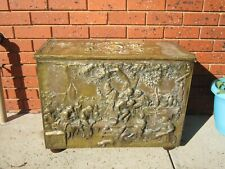 X- Large Antique Vintage Brass Glory Blanket Box or Fireplace Wood Box
