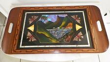 VINTAGE RIO DE JANIERO WOOD TRAY WITH BUTTERFLY WING DESIGN