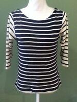 LL Bean Cream Blue Striped 3/4 Sleeve Boat Neck Cotton Shirt Top Womens XS