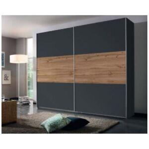Schiebetüren Schrank Kleiderschrank Schwebetüren Schlafzimmer Grau/Eiche 218cm