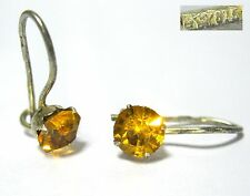Vintage Earrings SILVER 875 Star stamp Yellow Stone Soviet Russia USSR 0,82g