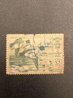 "US DUCK STAMP SCOTT RW16 "" Goldeneye Ducks "" 1949 USED $2 Green CV $20"