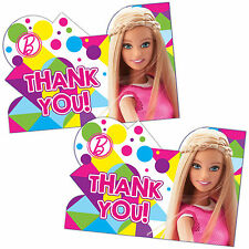 8 Pink Barbie Sparkle Children's Birthday Party Thank You Cards plus Envelopes