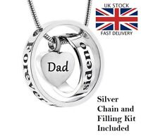 Dad Rings Heart Keepsake Cremation Urn Pendant Ashes Necklace Funeral Memorial