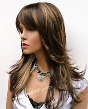 100% Real Hair! Sexy Charm Women's Wigs Long Brown with Blonde Wigs