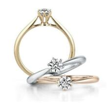 Silver SP Rose Gold GP Pave Cubic Zirconia Promise Solitaire Ring RS13