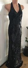 Monsoon Black Sequin Beaded Halter-neck Maxi Wedding Party Dress 12