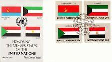 UN FDC 1981 Flag Series Ukraine Kuwait Sudan Egypt Error in color of the Ukraine