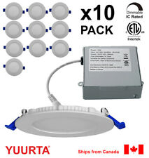YUURTA (10-pack) 4 Inch 10W LED Pot Light (Downlight) Dimmable Recessed Ceiling