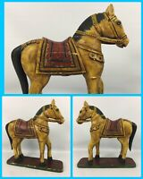 "14"" Vintage Wood HORSE Statue Figurine On Base Hand Made Painted Antique Old"