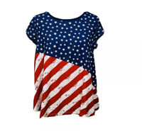 Cloud Chaser Womens Top Flag Stars and Stripes Red White Blue Keyhole Back XL