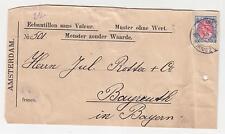 NETHERLANDS, 1909 Parcel Tag, No Commercial Value, 15c. to Bavaria.