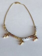 Gold Dolphin � Charms 10 3/4 In 14k Made In Italy Ankle Bracelet Anklet