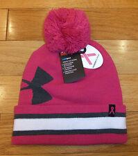 "NWT UNDER ARMOUR ColdGear ""Power In Pink BCA"" Womens Knit Pom Beanie Hat-OSFM"