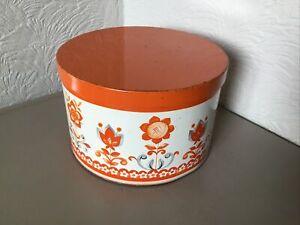 Vintage 1960s Storage Tin-Funky Orange Flower Design-Taunton Vale #6389