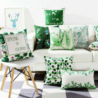 "18"" Home Cotton Linen Car Bed Sofa Waist Cushion Pillow Case Cover Cactus GIFTS"