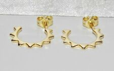 9ct Yellow Gold on Silver Huggie Hoop Stud Earrings
