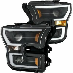 ANZO 111347 Head Lights for 15-17 Ford F150 Black/Clear/Amber