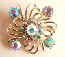 Vintage Aurora Borealis Rhinestone Gold Wedding Party Prom Brooch Gift Bag