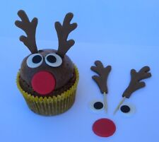 12 edible CHRISTMAS 3D REINDEER FACE KIT novelty cupcake cake topper decoration