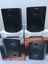 "2 - M-Audio BX5 Carbon Black 5"" 70W Powered Studio Monitor Speakers Used"