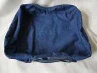 LONGABERGER Blue Ribbon Pie Basket Fabric Liner Blue Denim Embossed Buttons