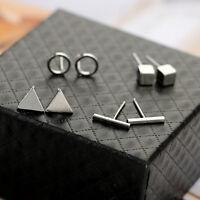 Gold Silver Black Tiny Circle Bar Earring Geometric Triangle Earring 4Pcs/set
