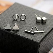 Simple Silver/Gold/Black Cubi Geometric Stud Earring 4Pair/Set Wome Girl Jewelry
