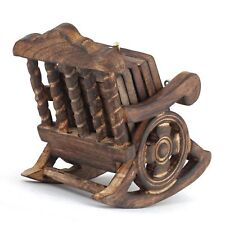 Handmade Wooden Chair Coaster Set Tea Coffee Handcrafted with Holder