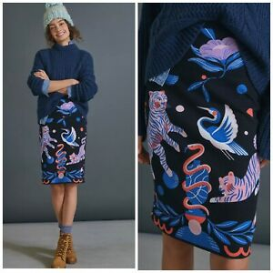 Anthropologie SUPER NICE LETTERS Julie Midi Sweater Skirt 2X Plus Tigers Whimsy
