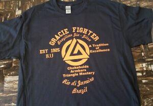 GRACIE MMA FIGHTER Jiu Jitsu PRIDE FC FIGHTING ORANGE logo T shirt Martial arts