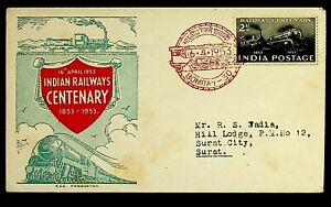 INDIA 1953 RAILWAY CENTENARY 2as BOMBAY CANCEL W/ SP. CACHET ON COVER TO SURAT