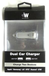 Just Wireless - Vehicle Charger Double USB Port (3.4 amps, USB-A) Slate Gray