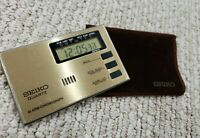 Thin Seiko Quartz Alarm Chronograph Travel LCD Alarm Clock, Stop Watch, New Batt