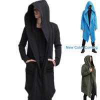 Men's Autumn Fashion Coat Long Sleeve Hooded Cloak Jacket Casual Solid Cardigan