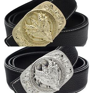 QHA Mens Womens Leather Belt For Men Women Luxury Dragon Face Pin Buckle Gift