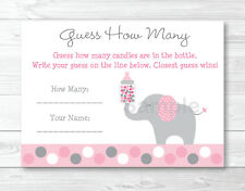 "Pink Gray Polka Dot Elephant Printable Baby Shower ""Guess How Many?"" Game Cards"