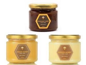 3 jars ACACIA I BUCKWHEAT I CLOVER I LINDEN Raw Honey Pure Unpasteurized Natural