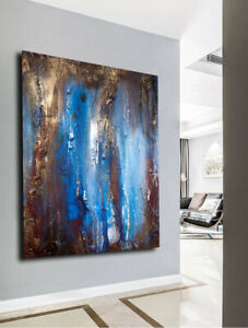 original abstract acrylic painting large texture canvas blue brown custom