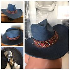 Vintage RESISTOL Stagecoach Hat Cowboy Cowgirl Blue Jean Floral Flower Band