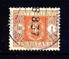 ITALIA - Regno - Segnatasse - 1934 - Stemma sabaudo con fasci - 1 lira arancio