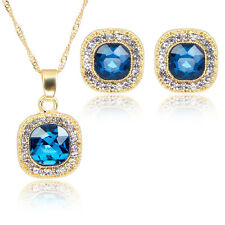 Fashion Blue Crystal Pendant Necklace Earring Luck Chain Rhinestone Jewelry Set