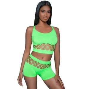 Cut Out Cami Crop Top Booty Shorts Set Sleeveless Double Straps Criss Cross 2011