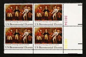US Plate Blocks Stamps #1728 ~ 1977 SURRENDER AT SARATOGA 13c Plate Block MNH