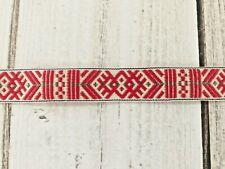 Scandinavian Folk Art Ribbon Hand Woven Red White with Green Christmas  5/8