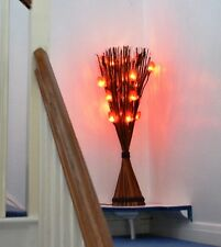 Red Rose Real Leaf Flower Light in Universal Orange / Brown Vase by Zhambala