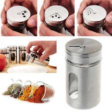 Stainless Steel Seasoning Condiment Jar Spice Glass Seal Pepper Shaker Bottle