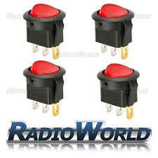 4x LED Rouge lumineux ronde Interrupteur ON / OFF 12V 16A Voiture Van dash light