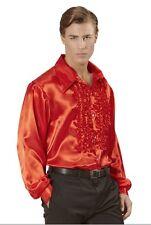 "Red Satin 70's 80's Ruffle Disco Shirt Fancy Dress Costume XL 48"" Chest"